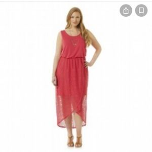 Simply Emma Crochet Lace Maxi Dress Red 1X New